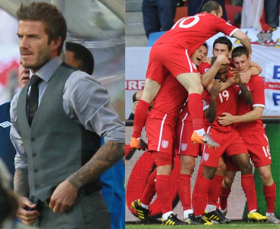 Pictures of England Winning Against Slovenia 1 - 0 in The World Cup in South Africa, David Beckham, Jermain Defoe, Wayne Rooney,