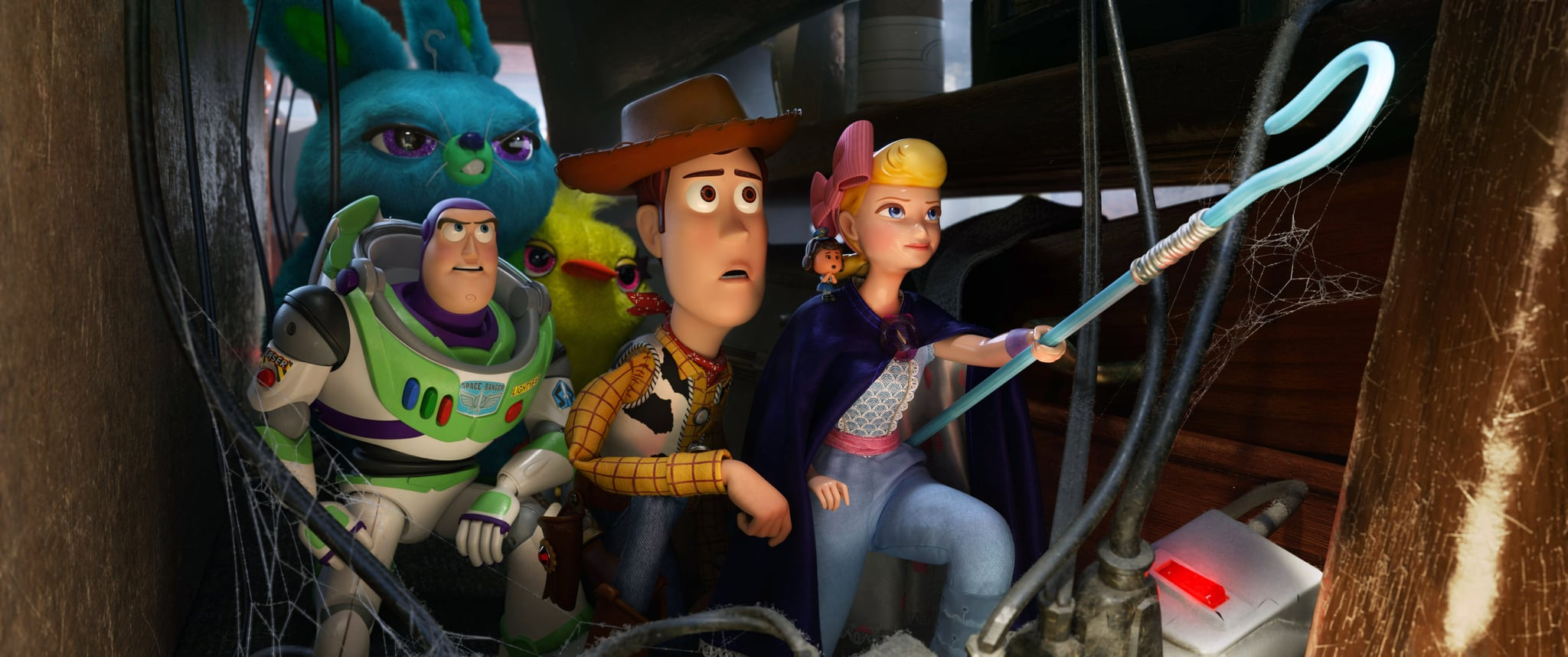 TOY STORY 4, background from left: Bunny (J. Peele), Ducky (Keegan-Michael Key); foreground from left: Buzz Lightyear (T. Allen), Woody (T. Hanks), Bo Peep (A. Potts), 2019.  Walt Disney Studios Motion Pictures / courtesy Everett Collection