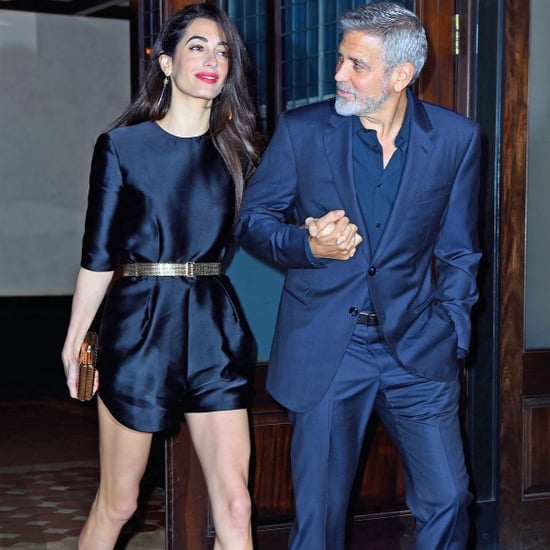 Amal Clooney Black Romper With Gold Belt