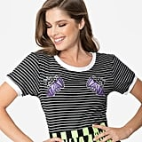 Hell Bunny Black and White Stripe Cotton Knit Vampirina Patch Top