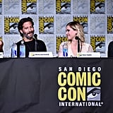 Pictured: Marie Avgeropoulos, Henry Ian Cusick, Eliza Taylor, and producer Jason Rothenberg.