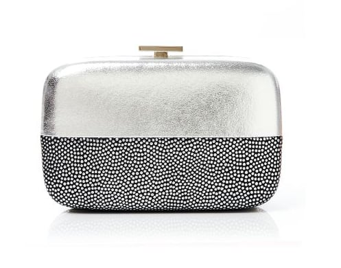 Henri Bendel's party box clutch ($198) stands out from the crowd thanks to its two-toned nature. The price is a great sell, too.