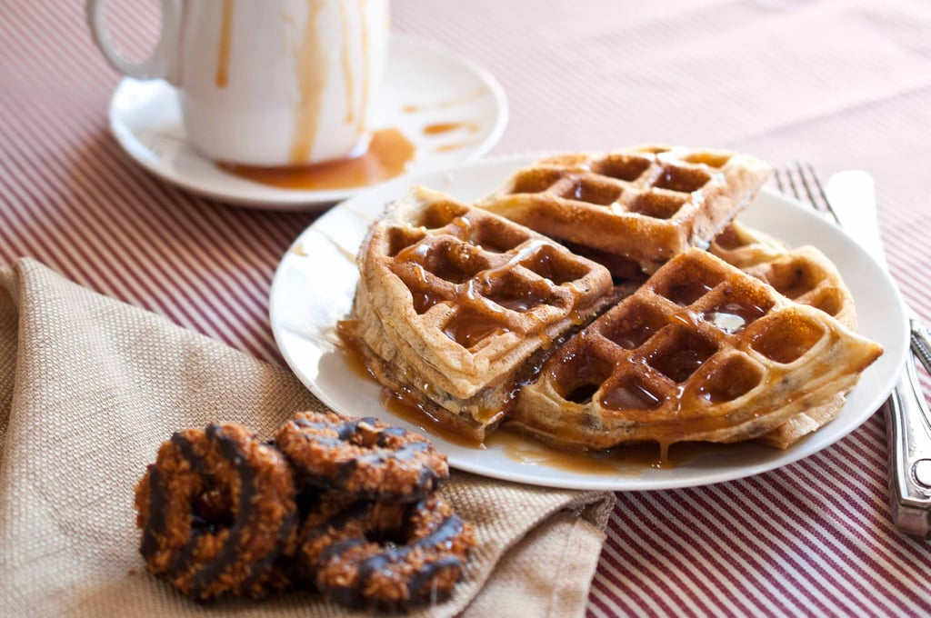 Samoa Waffles With Coconut Caramel Sauce