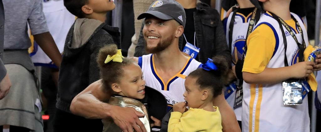 Stephen Curry With Daughters at NBA Finals Game 2017