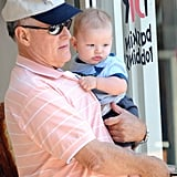 Jennifer Garner's dad, Bill, carried baby Samuel out to the car.