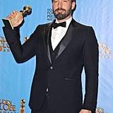 Ben Affleck proudly showed off his Golden Globe statue.