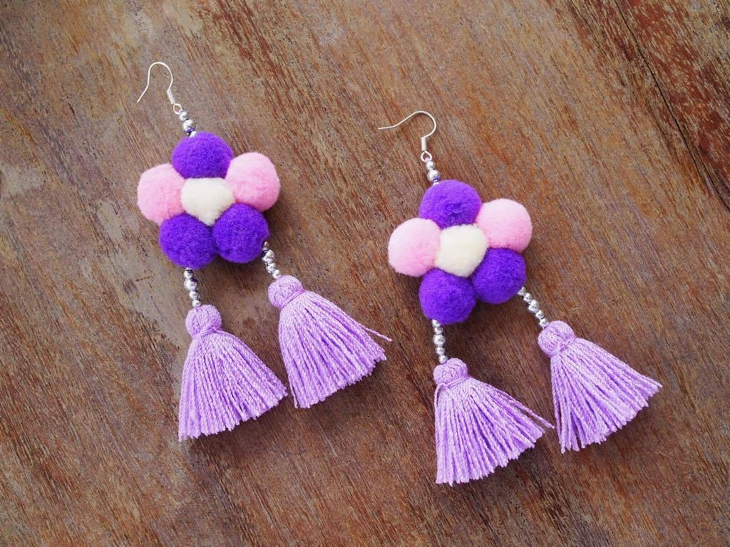 Purple Tassel and Pom-Pom Earrings