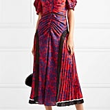 Self-Portrait Floral Print Satin Midi Dress