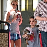 Britney Spears and her sons, Sean Preston and Jayden James, took their puppies to the vet in LA.