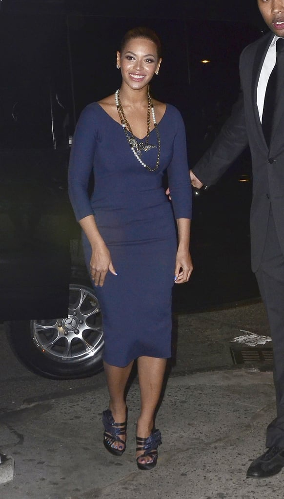 It was an unforgettable fashion moment when Beyoncé stepped out in NYC in a navy blue Victoria Beckham dress with Lanvin necklaces and matching Nicholas Kirkwood sandals.