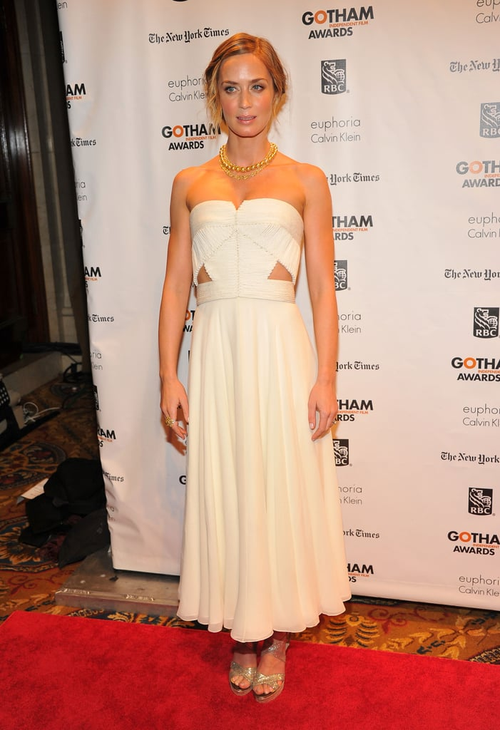 Emily Blunt wore a strapless gown in NYC.