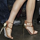 Zoom in on Gwyneth's fierce Sergio Rossi brown luggage leather Clonia sandals.
