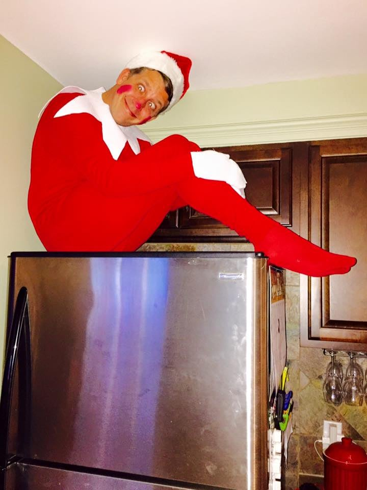 """So we finally caved and decided to do the 'Elf on the Shelf' thing. The kids are going to be so surprised! We named our elf FLE and he will be in some pretty precarious spots over the next 24 days! Enjoy."""