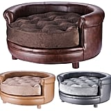Chesterfield Faux Leather Large Dog Bed by Villacera