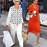 Katie Holmes walked in NYC with her mom.