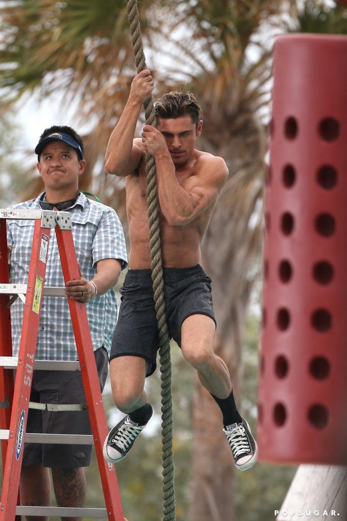 Zac Efron Shirtless Baywatch Movie Set Pictures