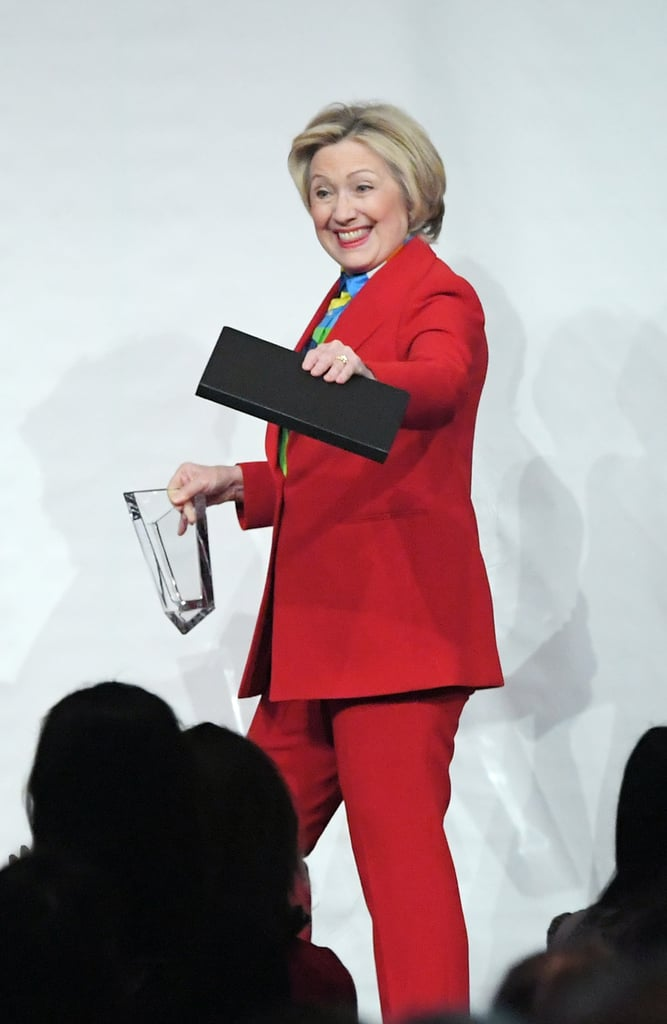 Hillary Clinton Wore a Red Pantsuit to the Girls Inc. Luncheon