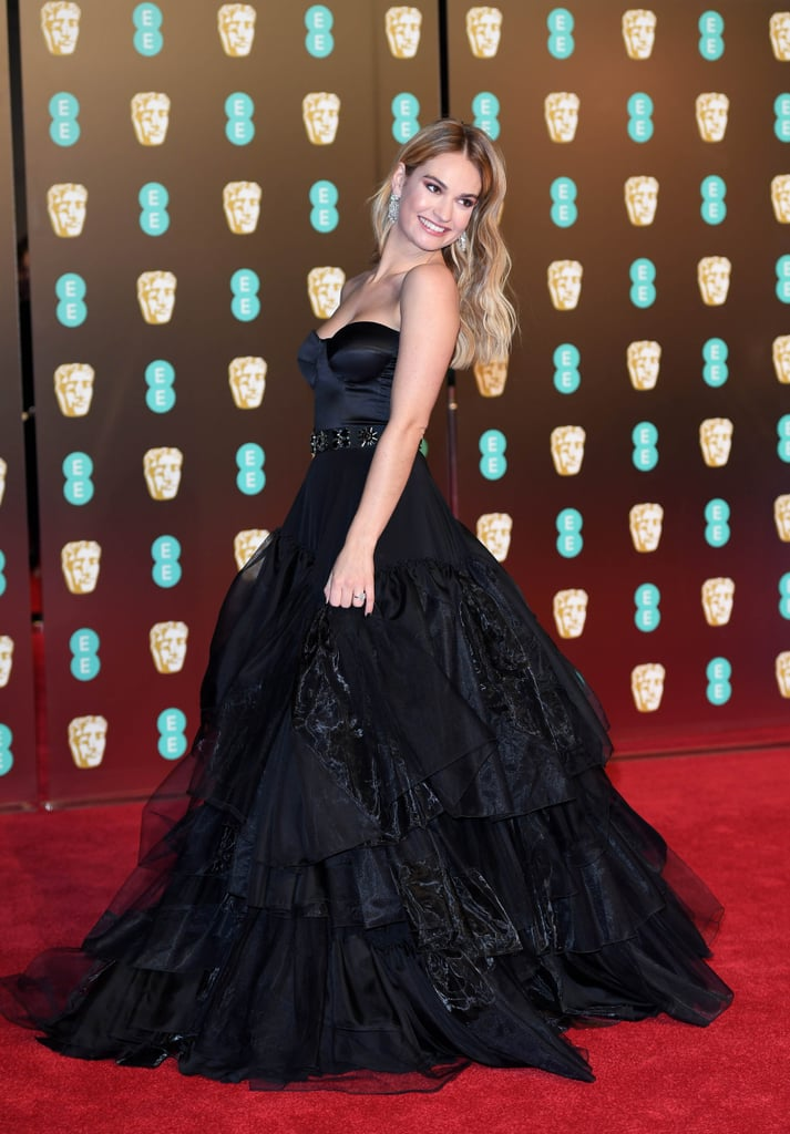 Lily James Burberry Dress at the 2018 BAFTA Awards