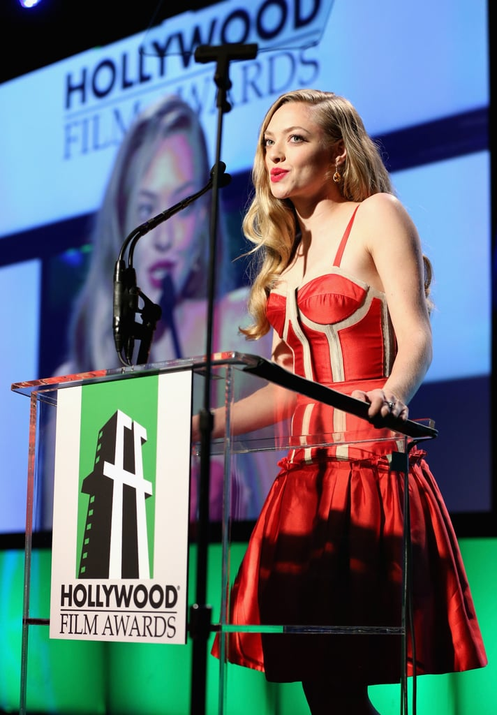 Amanda Seyfried appeared on stage at the Hollywood Film Awards gala in Los Angeles.