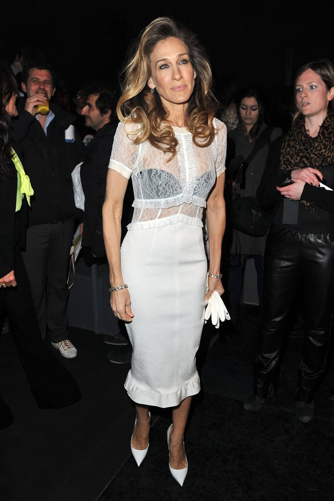Sarah Jessica Parker wore the trend at the Louis Vuitton show in Paris for Fall Fashion Week.