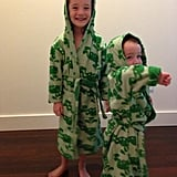 Satyana and Keeva Denisof were all smiles for the camera after their baths. Source: Twitter user alydenisof