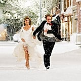 There may not have been snow during Jen's nuptials, but her classic gown from Marley and Me would have definitely made the actress look like a princess.