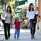 Jennifer Garner walked with Samuel, Seraphina, and a friend.