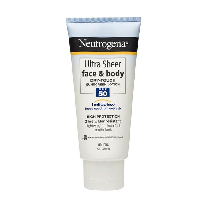 Neutrogena Ultra Sheer Face & Body Dry Touch Sunscreen SPF50, $9.99