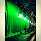 Ansel Elgort shared this picture of the elaborate green-screen set. Source: Instagram user anselelgort