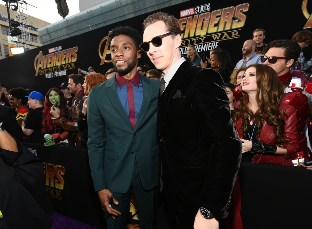 All eyes were on the star-studded cast of Avengers: Infinity War when they hit the red carpet for the film's LA premiere on Monday night. Robert Downey Jr., Tom Hiddleston, Chris Hemsworth, Letitia Wright, and Zoe Saldana arrived in style, while Scarlett Johansson made her red carpet debut with Colin Jost. But that's not all! Gwyneth Paltrow, Bradley Cooper, and Vin Diesel also made fun appearances, as did Benedict Cumberbatch and Sophie Hunter. If you couldn't tell already, Avengers: Infinity War has a massive cast of superheroes, and not only that, but it's also Marvel's longest movie yet, clocking in at two hours and 36 minutes. Be sure to catch it when it hits theaters on April 27.      Related:                                                                                                           Feast Your Eyes on 24 Glorious Photos From Avengers: Infinity War