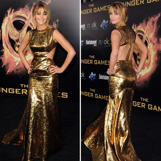 Jennifer Lawrence Pictures in Gold Prabal Guring at The Hunger Games Premiere