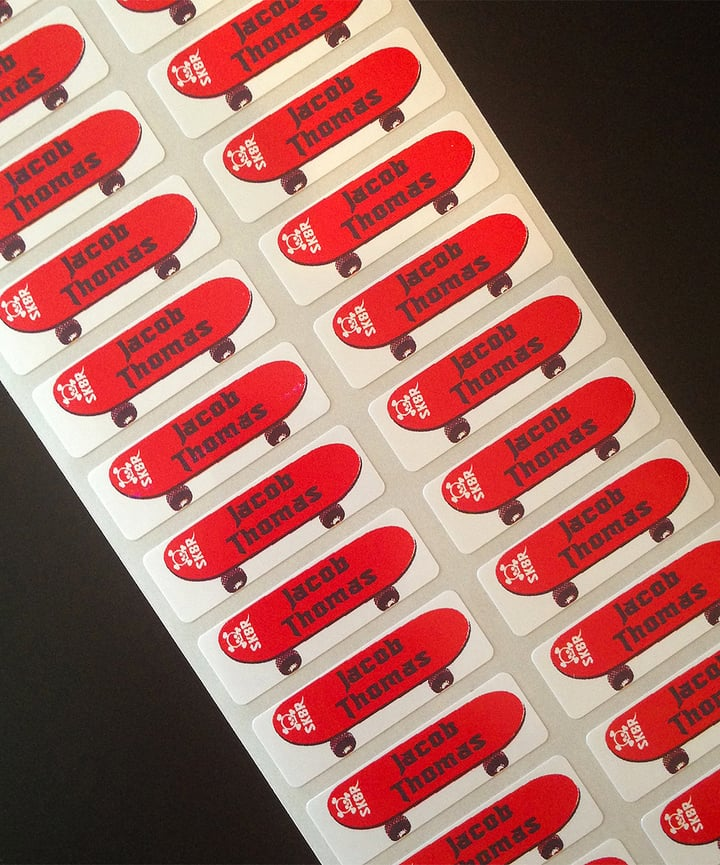 Skateboard Personalized Label Set