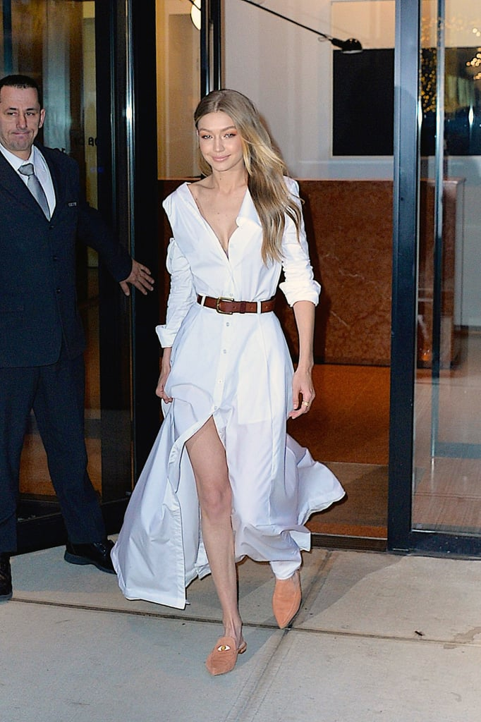 While promoting her second collection of shoes with Stuart Weitzmn, Gigi wore a Adam Selman shirt dress on Nov. 2017 to The Tonight Show.