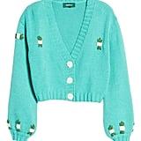 4SI3NNA Tegan Floral Crop Cardigan Sweater