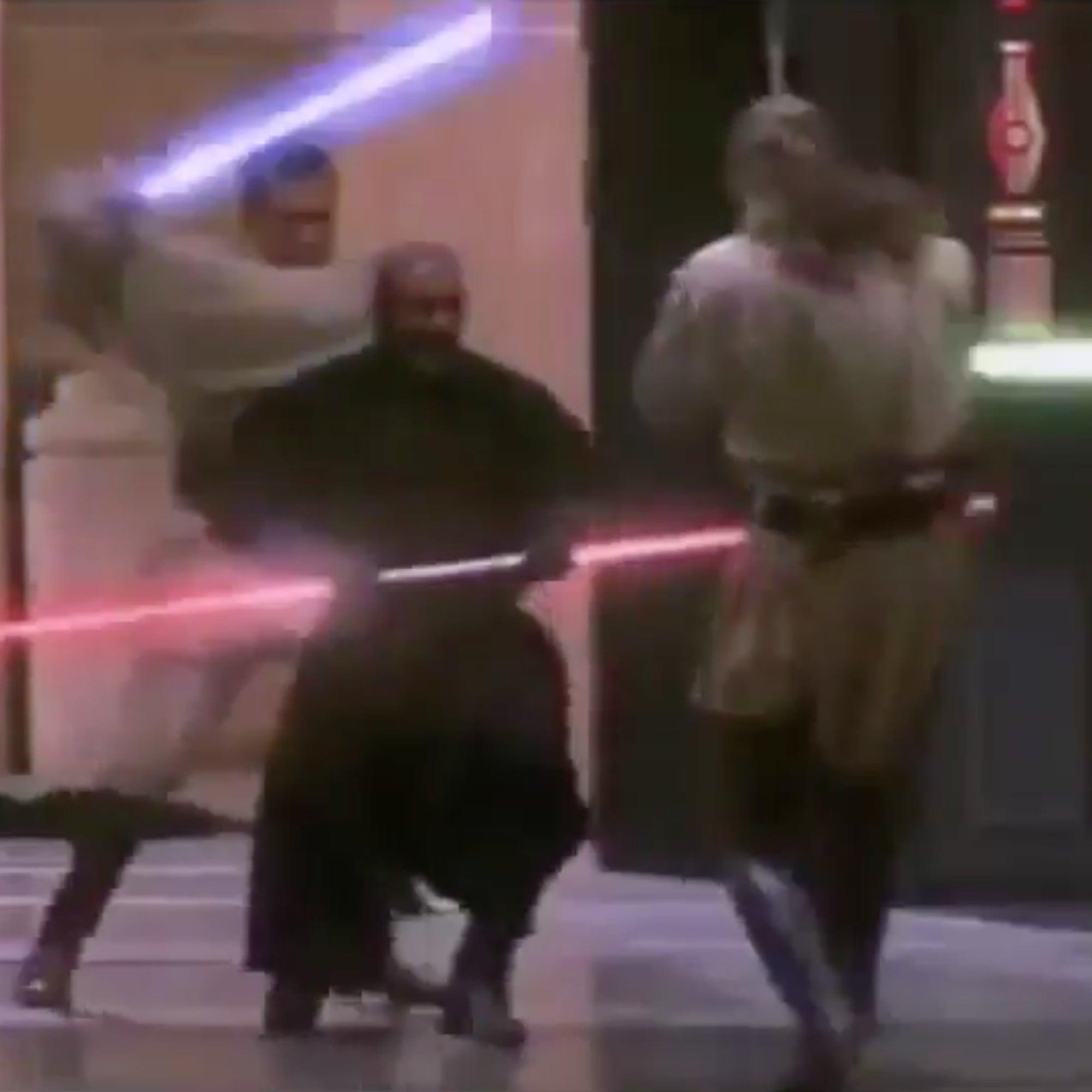 star wars lightsaber fight with owen wilson s voice popsugar
