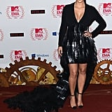Kim Kardashian wore a black dress at the MTV EMAs in Frankfurt.