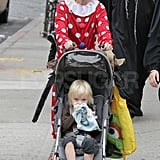 Naomi Watts in costume with Samuel.