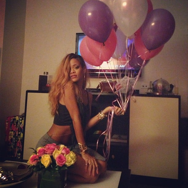Rihanna S Friends Brought Her Balloons And Flowers After