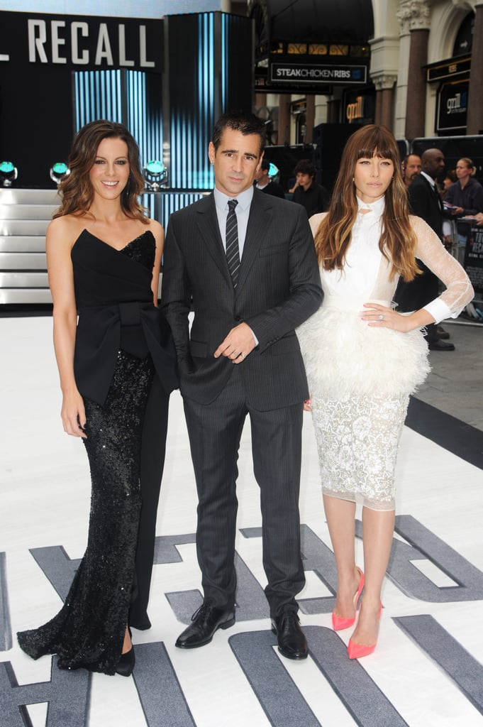 Kate Beckinsale, Colin Farrell and Jessica Biel smiled together at the premiere of their new film Total Recall.