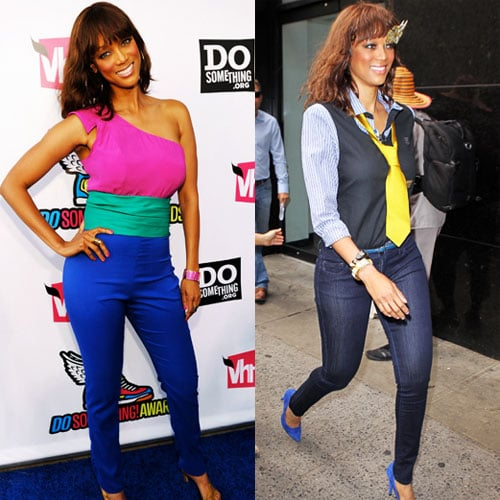 Tyra Banks Looks Hot in the Fall Color Block Trend