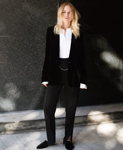 2016: Slightly mismatched black separates broken up with a crisp white blouse. Give off a cool-girl effect with slippers or flats.