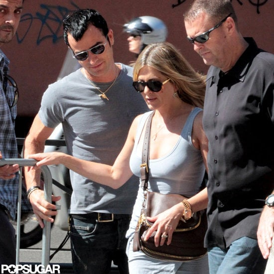 Jennifer Aniston and Justin Theroux walked around Rome.