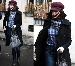 Anne Hathaway Roams Barcelona Spain in Burberry Newsboy Cap