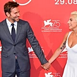 Bradley and Gaga headed to their photocall together at the festival.