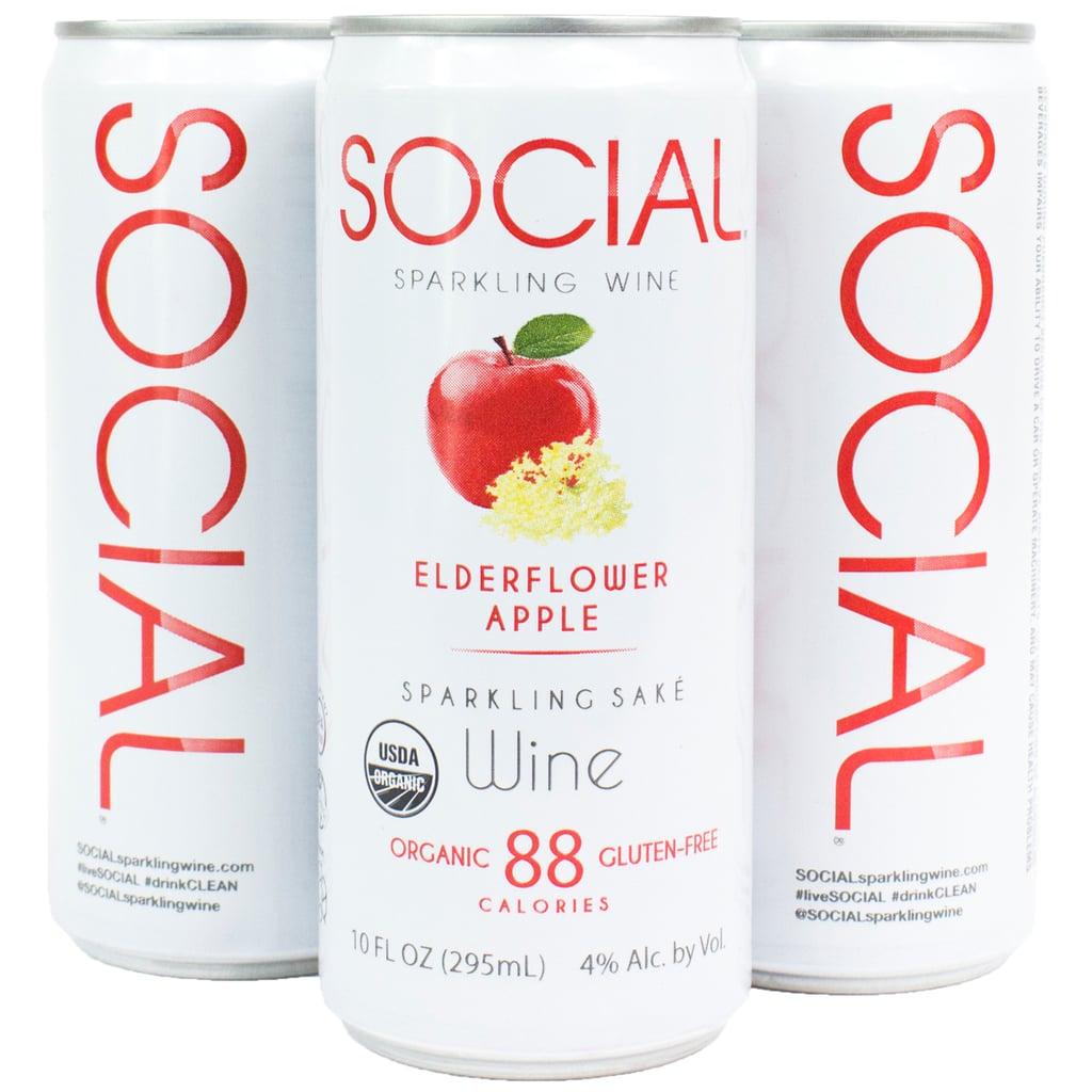 Social Sparkling Wine Elderflower Apple Four-Pack