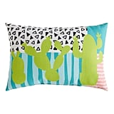 Lime Cactus Mix-Print Lumbar Pillow