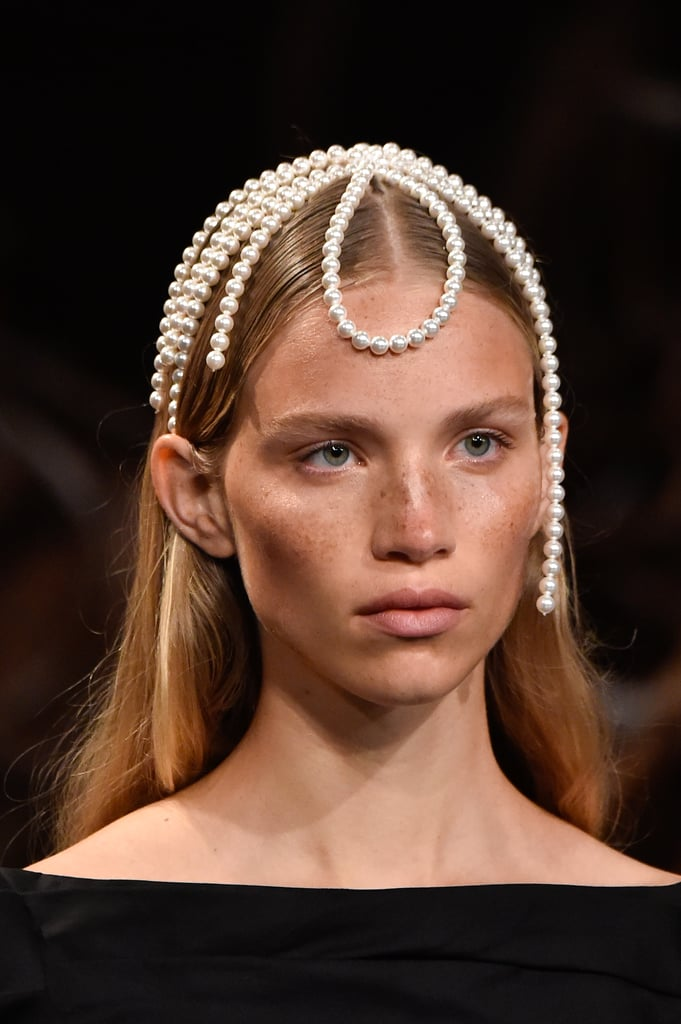 A Pearl Head Piece on the Khaite Runway at New York Fashion Week