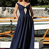 Actress Kasia Smutniak was announced as the host of the opening and closing ceremonies of this year's Venice Film Festival. To fete the occasion, she wore an off-the-shoulder navy blue Jil Sander dress from the designer's Fall 2012 line. While her ankle-strap pumps provided a low-key accent, it's the nude keyhole panel that adds an eye-catching contrast.
