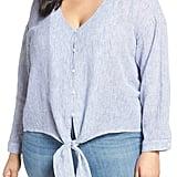 Caslon Tie Front Linen Blend Shirt