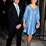 Crown Princess Victoria of Sweden wearing a blue sequined dress.